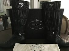 $1600 - Prada Nappa Ruched Black Leather Gauffre Boots Nero Size 38/US 8