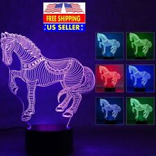 Horse Stallion 3D Illusion 7 Color Change Night Light Desk Table LED Lamp Gift