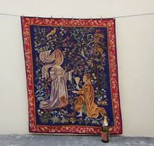 Vintage French Aubusson Style Hand Made Madeival Tapestry 135x109cm (A867)
