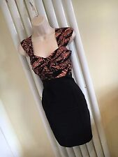 JANE NORMAN Stunning Coral Peach Black Stretch Fitted Dress Size 10 NEW