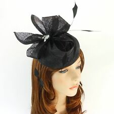 New Church Derby Cocktail Wedding Sinamay Fascinator Hat w Headband FS-12 Black