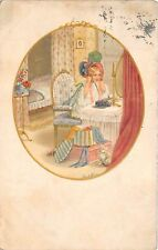 B82877 Pauli Ebner signed girl watching in miror  front/back scan
