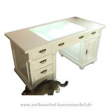 Schreibtisch,Arbeitstisch mit LED,Tisch,Weichholz,Landhausstil,weiß, Gründerzeit