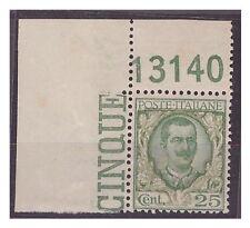 REGNO 1926  - FLOREALE  - Centesimi 25   NUOVO  **  NUMERO DI TAVOLA