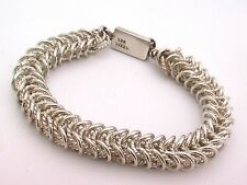 Taxco Mexican 925 Sterling Silver Chain Bracelet. 40g-42g, 17-18 cm, 6.7-7.1""