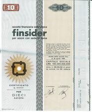 FINSIDER 10 AZIONI CERTIFICATO AZIONARIO 1968 SIDERURGICA - STOCK CERTIFICATE