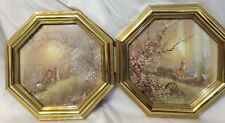 2 VINTAGE SYROCO/HOMCO SPRING PICTURES OCTAGON FRAMES GOLD IN COLOR, VERY GOOD
