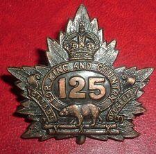 CAP BADGES-WW1 CANADIAN CEF 125th BRANT COUNTY BTTN CHARLTON REF 125-4
