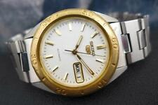 Vintage Collectible SEIKO 5 7S26 3250 SS with GP Bezel Day/date 37mm