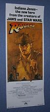 Original INDIANA JONES RAIDERS OF THE LOST ARK 14x36 Insert Poster ROLLED