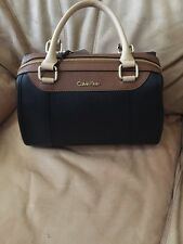 Calvin Klein Satchel Black Brown Tan $228 NWT #H3AD1307 Leather Purse Handbag