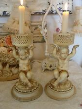 ROMANTIC Pair Vintage CHERUB PUTTI CANDLESTICKS Chic