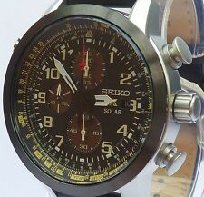 SEIKO PROSPEX AVIATOR BRAND NEW MENS SOLAR LEATHER CHRONOGRAPH WATCH. SSC423P1