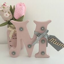 HAND PAINTED WOODEN PERSONALISED MUM GIFT VINTAGE STYLE GREY & PINK SHABBY CHIC