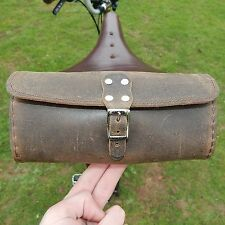 Saddle Frame Handlebar Tool Bag Real Leather Vintage Retro Bicycle RAW BROWN