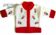"""Candy Cane Holiday Cardigan Sweater Zipper for 18"""" American Girl Doll Clothes"""