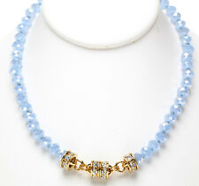 NEW KIRKS FOLLY TIMELESS CRYSTAL  BEAD MAGNETIC NECKLACE  GOLDTONE/SKY BLUE