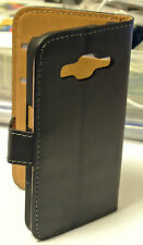 For Samsung Galaxy Core Prime Black Genuine Leather Business Wallet Case Cover