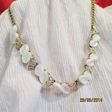 Vintage Uns Coro Cream Thermoset Plastic Gold-tone Necklace Jewelry Great Cond'n