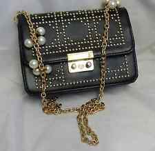 Black studded clutch/shoulder handbag
