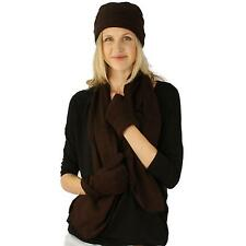 Ladies Microfleece 3pc Winter Beanie Skull Hat Cap w Scarf Gloves Set Brown M