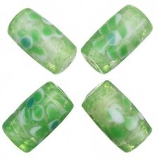 Fused Flower Transparent Green Tube Glass Beads 20x10mm Pack of 4 (A79/1)