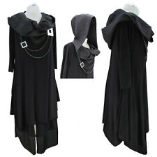 Lagenlook Stunning Quirky Black Cross Collar Hooded Tunic Dress Fits up to UK 20