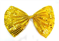 Gold Clown Jumbo Large Glitter Sparkly Sequin Costume Fancy Dress Party Bow Tie