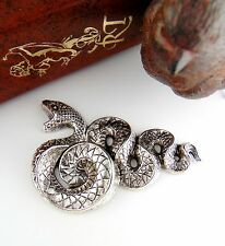 SILVER Large Serpent SNAKE Stampings ~ Jewelry Antique Silver Finding (C-503) `