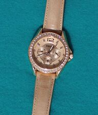 "FOSSIL ROSE-TONE CHRONOGRAPH WATER RESISTANT 8 1/2"" TAN LEATHER STRAP WATCH"