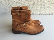 UGGS FABRIZIA Studs CHESTNUT Leather Side Zip Moto ANKLE BOOTS 1003235 SZ-6.5