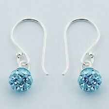 Silver hook earrings L Blue czech crystal beads shamballa  6mm tiny new Fashion