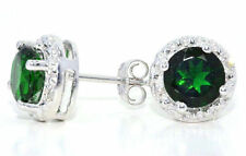 2 Carat Emerald & Diamond Round Stud Earrings 14Kt White Gold