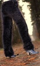 BLACK hand knitted mohair pants Fuzzy trousers leg warmers SUPERTANYA