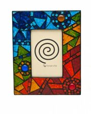"""Handmade Abstract Rainbow Mosaic Glass Photo Picture Frame 6 x 4"""""""