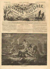 Children, Boys Hunting Frogs At Night, Vintage 1873 French Antique Art Print
