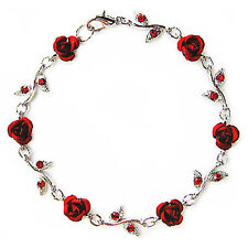 w Swarovski Crystal Hot Red ROSE FLOWER Floral Bridal Wedding Bracelet Xmas Gift