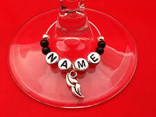 Personalised Name Wine Glass Charm & Moustache Charm by Libby's Market Place