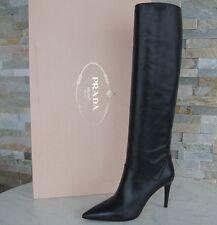 luxus Prada Gr 39,5 Stiefel boots Schuhe shoes stivali Schwarz NEU UVP 1200 €