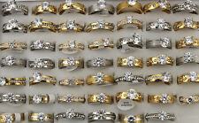 32pcs Mixed Jewelry Job Lots Clear CZ Ring Fashion Stainless Steel Rings AH734