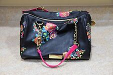Betsey Johnson Fuchsia Studded Bow Black Floral Large Purse Carried ONCE