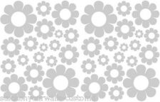 38 SATIN SILVER VINYL DAISY DAISIES DECALS STICKERS GIRL BABY DORM ROOM BEDROOM
