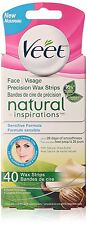 Veet Natural Inspirations Facial 40 Wax Strips for Sensitive Skin + Shea Butter
