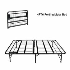 4FT6 Double Folding Guest Bed Metal Bed in Black Fold Up Away Spare Beds Camping