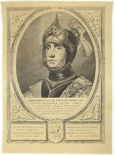 """Antique Engraving """"Theodoricvs IV"""" CORNELIS VISSCHER After JAN VAN EYCK C1800"""