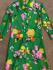 "1960s Vintage Lime Green Polyester Floral Knit Long Tailored Dress 3/4"" Sleeve S"