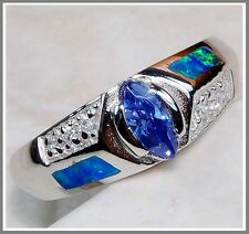 Blue Sapphire & Australian Opal Inlay Topaz 925 Solid Sterling Silver Ring Sz 8