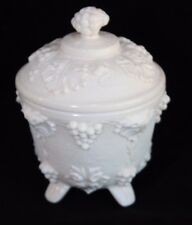 Vtg Jeannette Shell Pink Oak Grapes Milk Glass Footed Candy Nut Bowl 1950s MCM