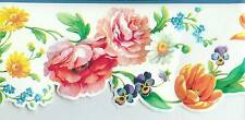 TULIPS,DAISIES, VIOLETS, ROSES, FLOWERS SCULPTURED W/ BLUE TRIM WALLPAPER BORDER