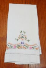 Vintage Hand Embroidered Shabby Floral Roses Guest Kitchen Dish Tea Bath Towel